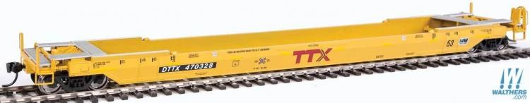 Walthers Proto - Gunderson Rebuilt 53' Well Car - DTTX #470328 (TTX Yellow - Small Railbox Logo) - In Stock