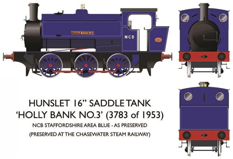 Hunslet 16in 0-6-0ST - NCB #3783 'Holly Bank No.3' (Lined Blue) - Pre Order