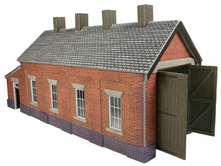 Single Track Engine Shed - Red Brick - In Stock